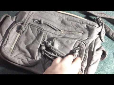 UTO Women Handbag PU Washed Leather Purse Hobo Style Multi Pockets Shoulder Bag Grey