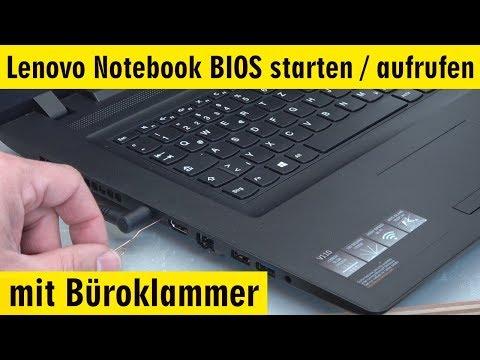 Lenovo Notebook BIOS starten - aufrufen mit Büroklammer - UEFI booten von USB DVD - [4K]