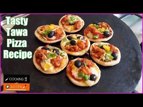 Tasty Tawa Pizza Recipe - Spicy Chicken Tikka Pizza Recipe - Without Oven Mini Pizza Recipe yt -164