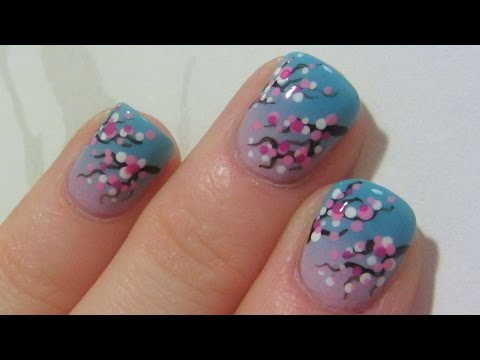 Easy Dotted Cherry Blossom Design on Pastel Ombre Background Nail Art Tutorial