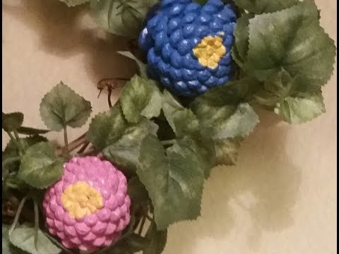 How to make a painted pinecone wreath - looks like Spring flowers