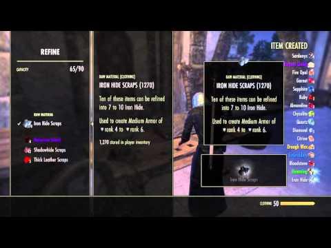The Elder Scrolls Online: Refining 2200 iron hide scraps