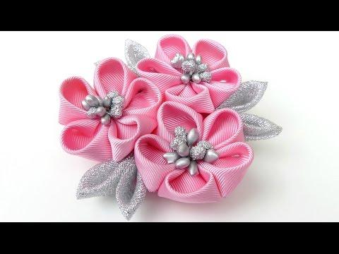 DIY Kanzashi flower hairclip I Kanzashi flower tutorial I How to make ribbon kanzashi flower