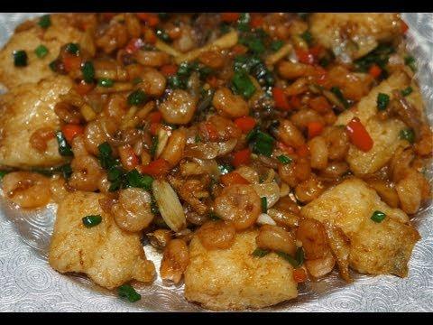 Asian Food - Fried Fish & Shrimp in Oyster Sauce Recipe - Prawn Stir fry