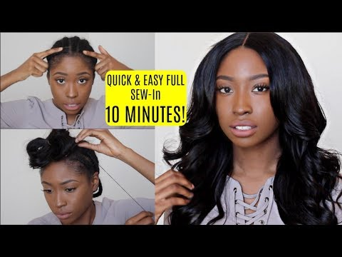 FULL SEW IN in 10 MINUTES TUTORIAL for Beginners! NO GLUE, NO LEAVE OUT!