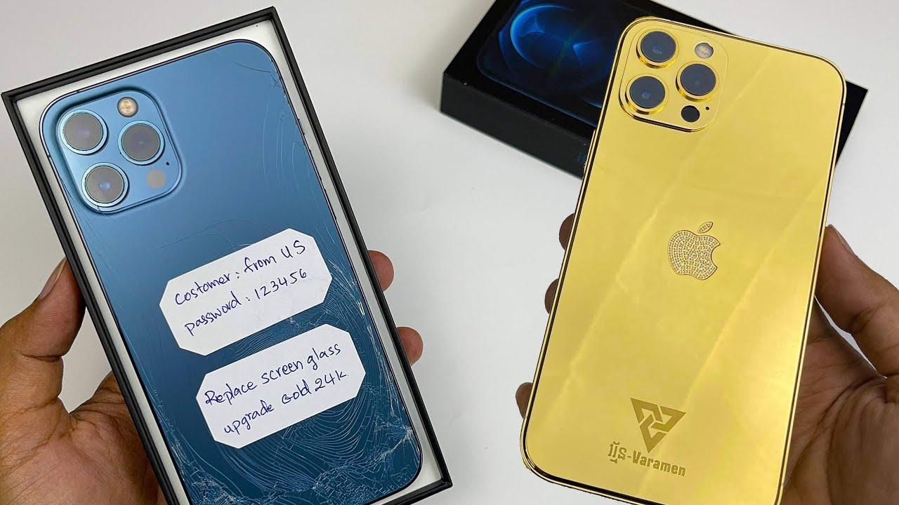 Turning Cracked iPhone 12 Pro Max to Gold 24K |ASMR Repair|