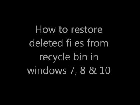 How to restore deleted files from recycle bin in windows 7, 8 & 10