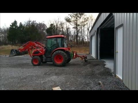 Creating Gravel Ramp to new concrete slab/Pole Barn entrance Kioti NX6010
