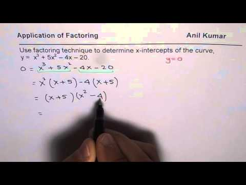 Factor to find x intercepts of a cubic equation