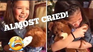 Reaction Of A Little Girl Gets A Teddy Bear With Her Late Grandpa