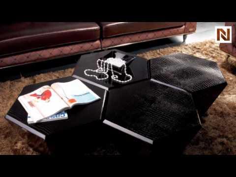 Hexagon Shaped Black Crocodile Lacquer Coffee Table VGUNAK908-60