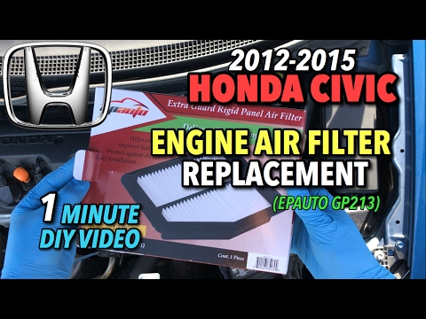 Honda Civic Engine Air Filter Replacement 2012-2015 - 1 Minute DIY Video