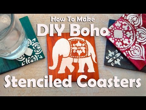 DIY Coasters: How To Make Dyed & Stenciled Boho Coasters