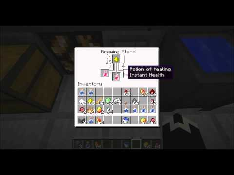 Minecraft How to Make a Brewing Stand Cauldron and Potions- Part1