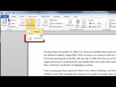 How to change Word 2010 Layout for the Whole Document