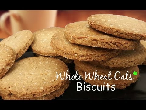 Whole Wheat Oats Biscuits | Whole wheat oats cookies | How to make Homemade Digestive Biscuits