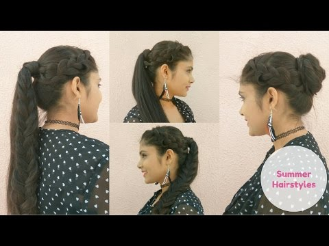 2 Quick and Easy Summer Hairstyles  | High Ponytails With Bun For Medium Hair