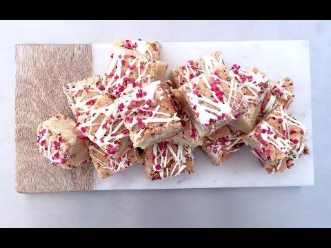 White chocolate and raspberry blondie recipe.