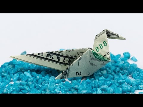 Money BIRD folding, how to make a DOLLAR BILL origami DUCK, instructions