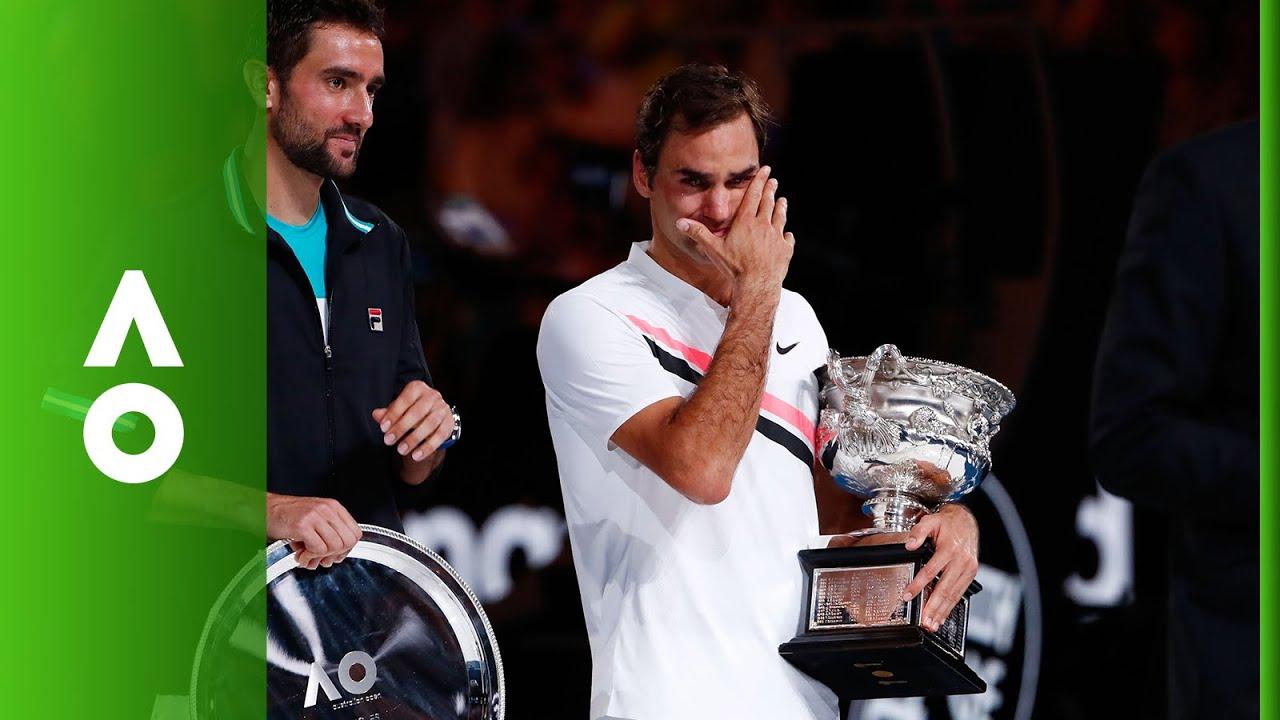 Roger Federer Men's Singles ceremony   Australian Open 2018