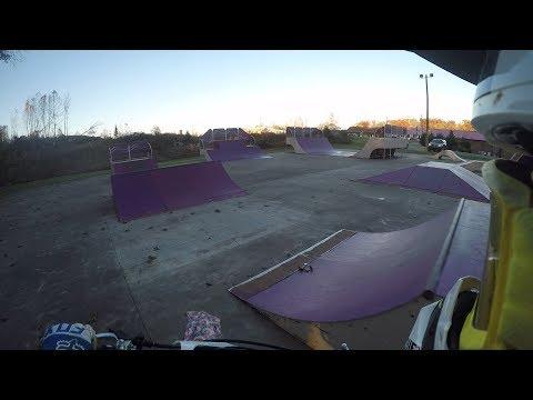 dirt biking at a skate park
