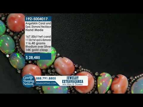 Custom Made Angelskin Coral, Opal, & Diamond Necklace l Gem Shopping Network