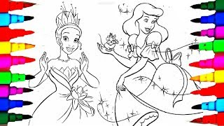 Learn Colors By Coloring Disney Princess Tiana Cinderella Pages For Kids
