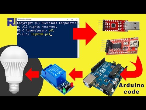Control relay and AC bulb from Windows Command line via USB and Arduino
