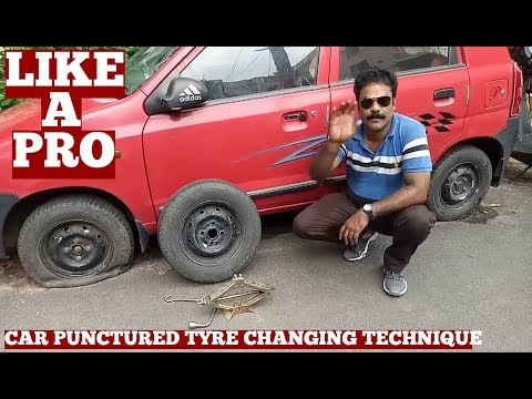 How To Change Car Tyre In India At Home Like A Pro-Punctured Car Tyre Change Video On YouTube