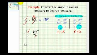 Examples Convert Angles In Radian Measure To Degree Measure
