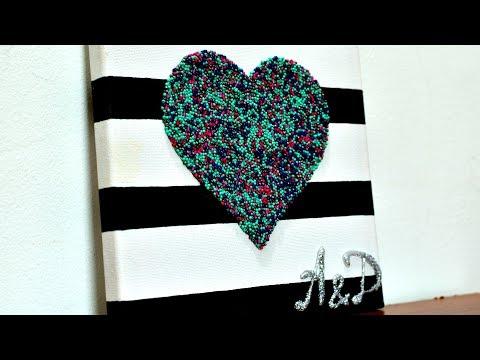 Canvas 3D Heart wedding gifts diy wall art craft how to make it handmade room decor ideas tutorial