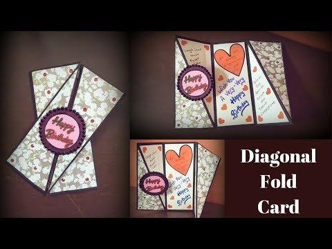 diy birthday card | handmade birthday card | diagonal fold card tutorial