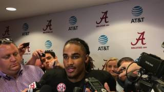 Jalen Hurts faces media mob after 2017 Alabama A-Day