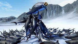 JUMPING SHARKS vs KING PENGUIN - Beast Battle Simulator Gameplay | Pungence