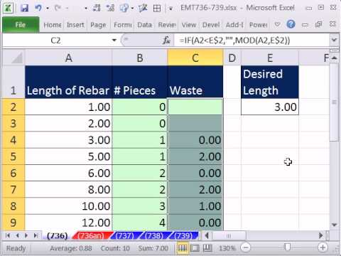 Excel Magic Trick 736: Formula & Conditional Formatting To Show Waste From Cutting Rebar