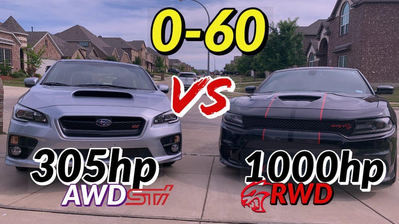 305hp WRX STI vs. 1000hp Hellcat - 0-60 on the street (Unreal)