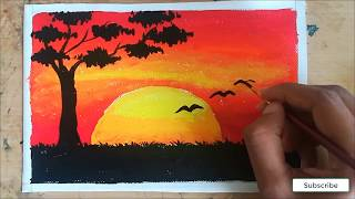 sunset painting with poster color birds sunset poster color painting