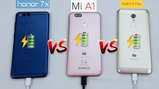 Redmi 5 Plus VS Honor 7X VS MiA1(Oreo) -  Battery Charging Test🔋