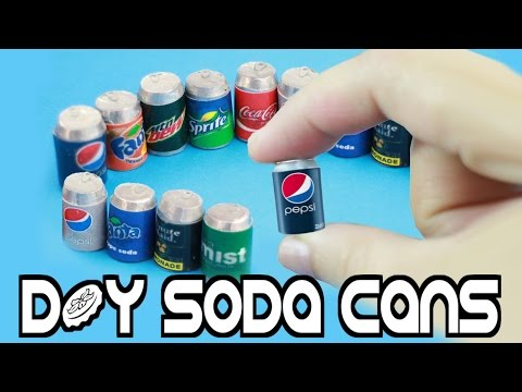 How to Make Miniature Cola - Soda Realistic - Pop Cans - Easy Crafts for Dolls