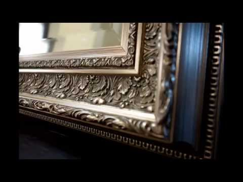 West Frames Elegance Ornate Embossed Champagne Silver Floor Mirror