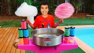 Sami makes cotton candy, Candy machine!