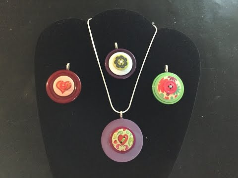 Simple stacked button necklaces/pendants
