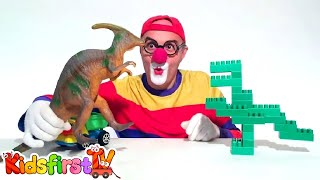 Toy Car Clown's LEGO Dinosaur - Jurassic TRUCK Chase! Toys & Trucks Cartoons for Kids by KidsFirstTV