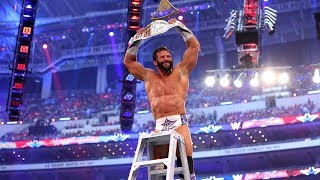 Zack Ryder celebrates with his dad after winning Intercontinental Championship at WrestleMania 32