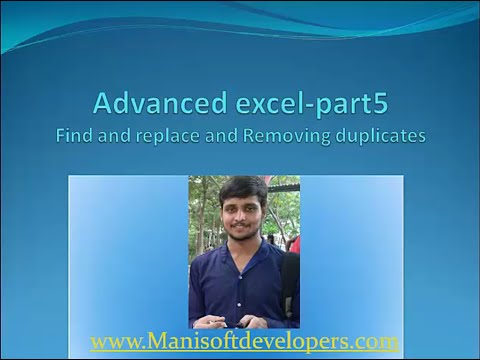Advanced Excel in tamil part5- Find and Replace and Removing Duplicates