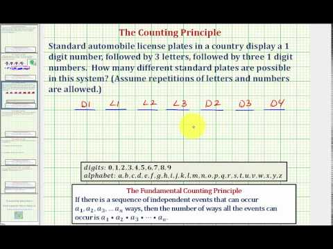 Ex:  Determine the Number of Possible License Plates - Counting Principle