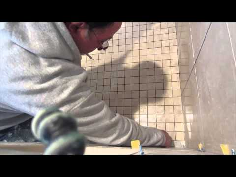 Complete tile shower install Part 8. Installing the shower floor tile