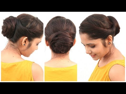 2 Min Easy Bun Hairstyle For Medium Hair | DIY Quick Hairstyle For School, College & Work