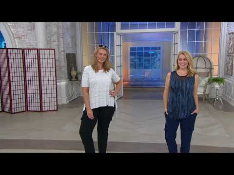 Lisa Rinna Collection California Crepe Knit Cargo Pants on QVC