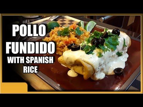 Chicken fundido (pollo fundido) and spanish rice